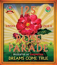 "The theme for the 125th Tournament of roses parade which is ""Dreams Come True"" and depicts a large red rose with a sunburst background and the dates 1890 and 2014.  The Rose Parade is presented by Honda."